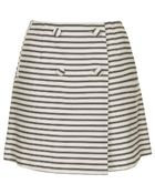 Topshop Striped Button Wrap Skirt - Lyst