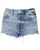 Topshop Petite Moto Folk Embroidered Hotpants - Lyst