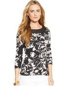 Lauren by Ralph Lauren Plus Size Floral-Print Three-Quarter-Sleeve Top - Lyst