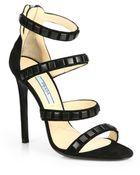 Prada Studded Suede Sandals - Lyst