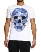 Just Cavalli Skull Printed Half Sleeve Crew-Neck T-Shirt - Lyst
