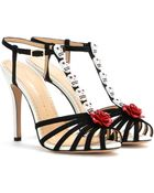 Charlotte Olympia Yolanda Suede And Leather Sandals - Lyst