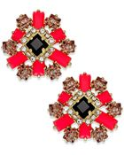 Kate Spade Gold-Tone Stone And Crystal Floral Cluster Earrings - Lyst
