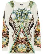Just Cavalli Printed And Embroidered Stretch-Jersey Top - Lyst