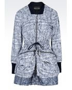Emporio Armani Reversible Pea Coat In Printed Nylon - Lyst