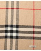Burberry Metallic Camel Giant Check Print Cashmere Fringe Scarf - Lyst