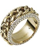 Michael Kors Goldtone Chain Crystal Ring - Lyst