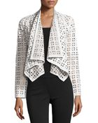 Milly Draped Perforated Leather Jacket - Lyst
