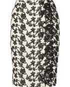 Oscar de la Renta Lace-appliquãd Crocheted Cotton-blend Skirt - Lyst