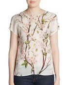 Dolce & Gabbana Blossom Print Silk Top - Lyst