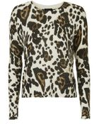 Topshop Leopard Knit Sweater - Lyst