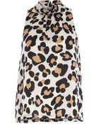River Island Brown Leopard Print Sleeveless Roll Neck Top - Lyst