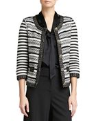 St. John Stripe Knit 3/4-Sleeve Jacket - Lyst