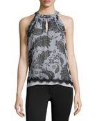 Diane von Furstenberg Floral Lace-Print Silk Halter Blouse - Lyst