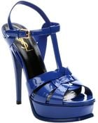 Saint Laurent Blue Majorell Patent Leather 'Tribute' Strappy Platform Sandals - Lyst