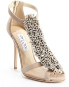 Jimmy Choo Nude Suede Crystal Pin 'Fortune' Heel Sandals - Lyst