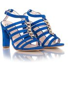 Missguided Disha Cobalt Blue Faux Suede Strappy Heeled Sandals - Lyst