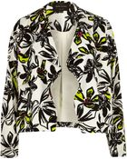 River Island Cream Floral Print Draped Cropped Jacket - Lyst