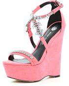 River Island Bright Pink Embellished Wedge Sandals - Lyst