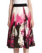 Milly Floral Print Midi Skirt - Lyst