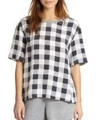 Joie Logan Silk Check-Print Oversized Top - Lyst