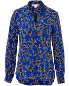 Diane von Furstenberg Stretch Silk Star Print Blouse - Lyst