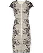 Lela Rose Lace And Crepe Dress - Lyst