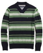 Tommy Hilfiger Stripe Vneck Shawl Sweater - Lyst