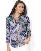 Lauren by Ralph Lauren Three-Quarter-Sleeve Paisley-Print Shirt - Lyst