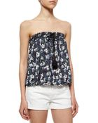 Free People Strapless Floral-Print Top - Lyst
