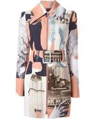 Carven Printed Belted Zipped Coat - Lyst