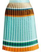 Ostwald Helgason Striped Pleated Silk-Blend Skirt - Lyst