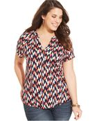Lucky Brand Jeans Lucky Brand Plus Size Short-Sleeve Printed Top - Lyst