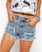 Asos High Waist Denim Shorts In Valley Vintage Wash With Rips - Lyst