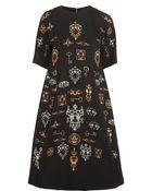 Dolce & Gabbana Printed Stretch-Wool Crepe Dress - Lyst