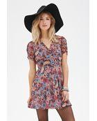 Love 21 Floral Print Chiffon Dress - Lyst