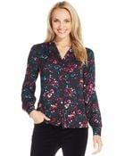 Jones New York Floral-Print Button-Down Blouse - Lyst