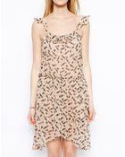 Traffic People Silk Lip Print Dress - Lyst