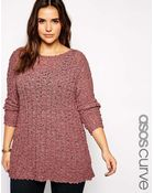 Asos Curve Slouch Sweater In Textured Knit - Lyst