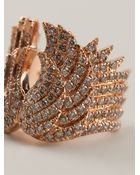 Elise Dray Rose Gold And Diamond Pavé Phalanx Wings Ring - Lyst