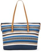 Saks Fifth Avenue Mixed-Stripe Tote - Lyst
