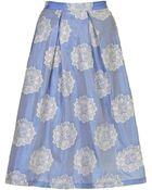 Topshop Womens Antique Jacquard Midi Skirt Cornflower - Lyst