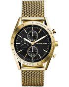 Michael Kors Men'S Chronograph Accelerator Gold-Tone Stainless Steel Mesh Bracelet Watch 42Mm Mk8388 - Lyst