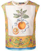 Dolce & Gabbana Orange Print Top - Lyst