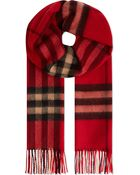 Burberry Giant Check Scarf Bright Vermillon Ck - Lyst