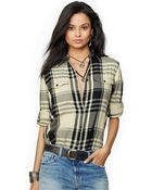 Denim & Supply Ralph Lauren Roll-Tab-Sleeve Plaid Flannel Shirt - Lyst