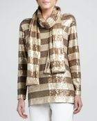 Eileen Fisher Striped Sequined Scarf - Lyst