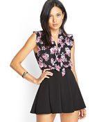 Forever 21 Floral Print Tie-Front Blouse - Lyst