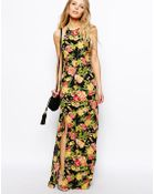 Asos Maxi Dress In Floral Print - Lyst