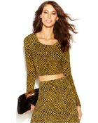 Michael Kors Michael Tribal-Print Crop Top - Lyst